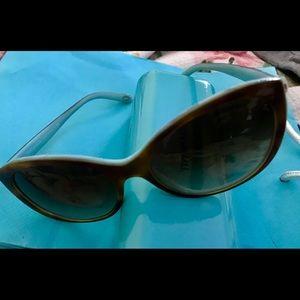 """Tortoise Shell"" Amber brown Tiffany blue frames"